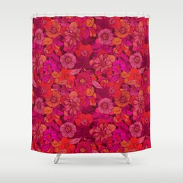 Hellebore lineart florals   red Shower Curtain