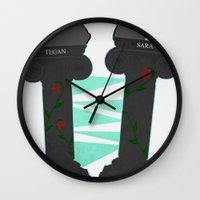 tegan and sara Wall Clocks featuring Heartthrob [Tegan and Sara] by Canadiquin