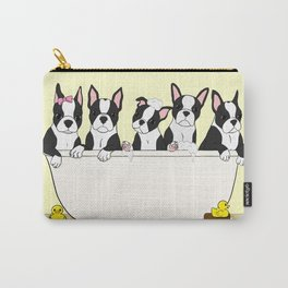 Boston Puppies in a Tub Carry-All Pouch