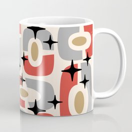 Mid Century Modern Cosmic Abstract 129 Red Gray Gold Black and Beige Coffee Mug