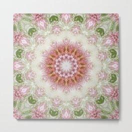 Pink Chrysanthemums Kaleidoscope Art 3 Metal Print