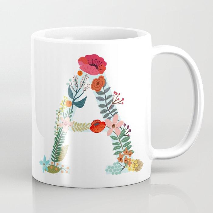 Monogram A Letter Initial Typography Coffee Mug By Miacharro