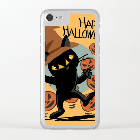 Cat Halloween Clear iPhone Case