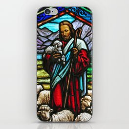 Jesus and lambs stained glass iPhone Skin
