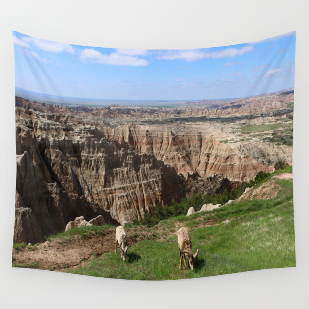 Bighorn Sheep At Sage Creek Wall Tapestry by Christianeschulze TPS8089884