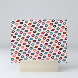 Retro Lips - Colorful Pattern Mini Art Print