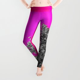 Gray Trees Hot Pink Sky Leggings