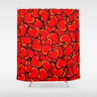 hearts Shower Curtains featuring Heart by 10813 Apparel