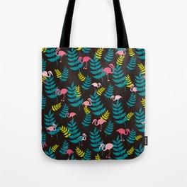 Flamingo and Leaves | Black Tote Bag