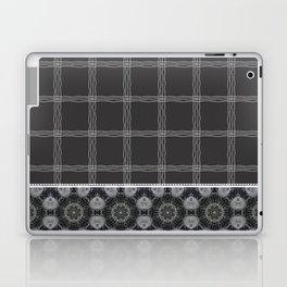 Wavy Plaid Pattern Bla and Grey Mandala Tile Laptop & iPad Skin