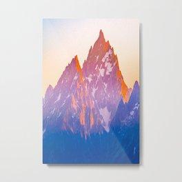 Mountains Grand Teton Wyoming Sunset Print Metal Print