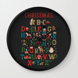 Christmas ABC colorful vintage wooden toys Alphabet Wall Clock