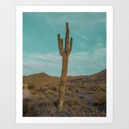 Saguaro // Desert Landscape Photography Arizona Teal Blue Sky National Park Cactus Vibes Art Print
