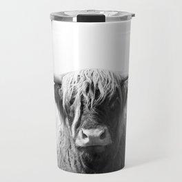 Highland cow | Black and White Photo Travel Mug
