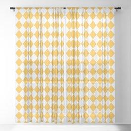 Butter Yellow Modern Diamond Pattern Sheer Curtain