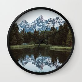 Grand Tetons Relfection at Sunrise Wall Clock