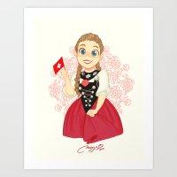 switzerland Art Prints featuring Switzerland by Melissa Ballesteros Parada