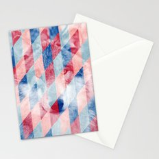 Red Blue Abstract Geometric Pattern Gray Wolf Head Stationery Cards