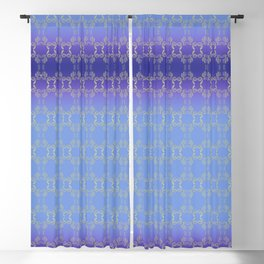 Hand drawn Seed Pods golden yellow blues Blackout Curtain