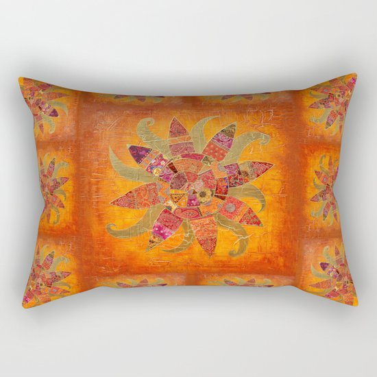 Sol Fantastico original collage art gold orange Rectangular Pillow