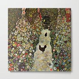 """Gustav Klimt """"Garden Path with Chickens"""" Metal Print"""