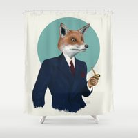 mr fox Shower Curtains featuring Mr. Fox by FAMOUS WHEN DEAD