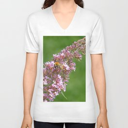 Pink flowers and bee Unisex V-Neck