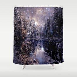 A Cold Winter's Night Neutral Beige Navy Blue Shower Curtain