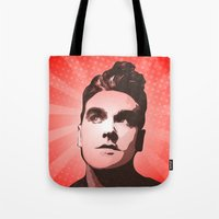 the smiths Tote Bags featuring The Smiths - This Charming Man - Pop Art by William Cuccio aka WCSmack