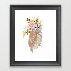 Owl with flower crown Framed Art Print