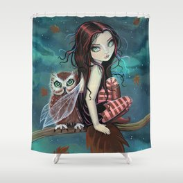 Autumn Owl Fairy Fantasy Art by Molly Harrison Shower Curtain