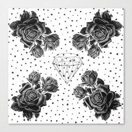 Diamond and black roses Canvas Print