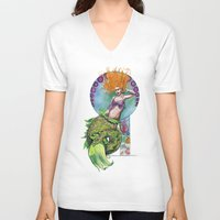 pinup V-neck T-shirts featuring Mermaid Pinup by Theresa Lammon
