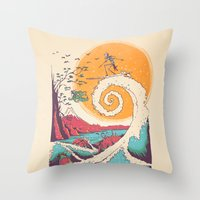surfer Throw Pillows featuring Surf Before Christmas by Victor Vercesi