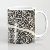 london map Mugs featuring London map by NJ-Illustrations