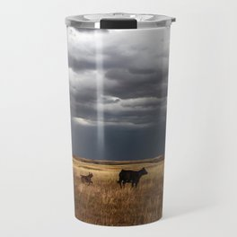 Life on the Plains - Cow Watches Over Playful Calf in Oklahoma Travel Mug