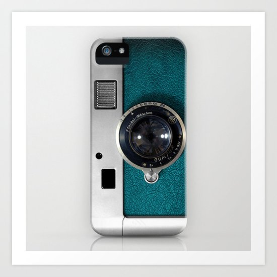 Classic retro Blue Teal Leather silver Germany vintage camera iPhone 4 4s 5 5c, ipod, ipad case Art Print