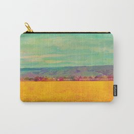 Teal Sky, Indigo Mountains, Mustard Plants, Colorful Houses Carry-All Pouch