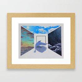 A Brief Encounter With a Blue Bird Framed Art Print