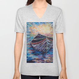 Wooden Boat at Sunrise - original oil painting with palette knife #society6 #decor #boat Unisex V-Neck