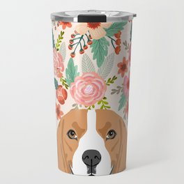 Beagle floral dog breed pet lover dog head with flowers beagles gifts Travel Mug