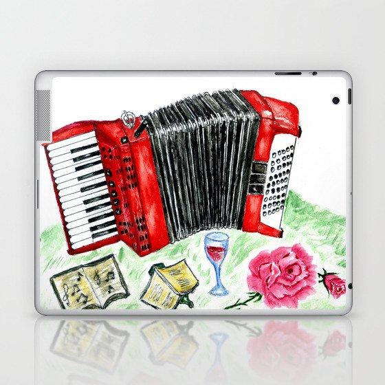 Retro red accordion Laptop & iPad Skin