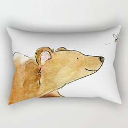 Bear & Bee Watercolor Rectangular Pillow