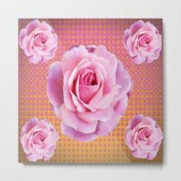 PINK GARDEN ROSES OPTICAL PATTERN ART Metal Print