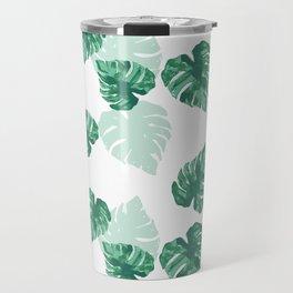 Tropical Palm Leaves Green Pattern Travel Mug