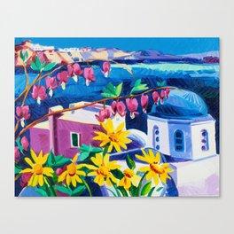 Santorini churches Canvas Print