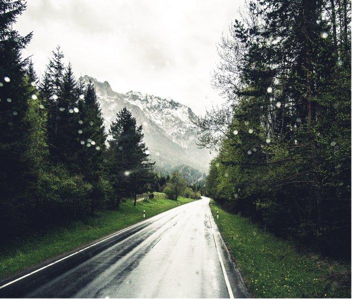 Down the Road - Mountains, Forest, Austria Metal Travel Mug