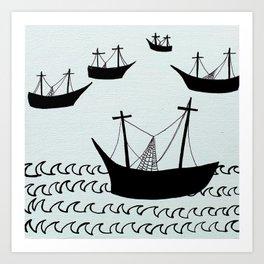 Oily Boats Art Print