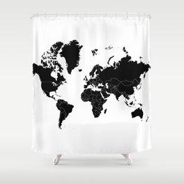 Minimalist World Map Black on White Background Shower Curtain