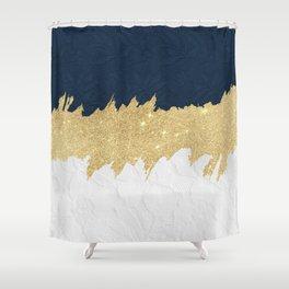 Navy blue white lace gold glitter brushstrokes Shower Curtain